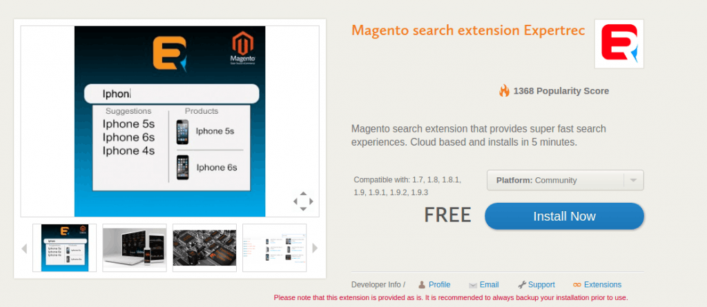 magento search settings