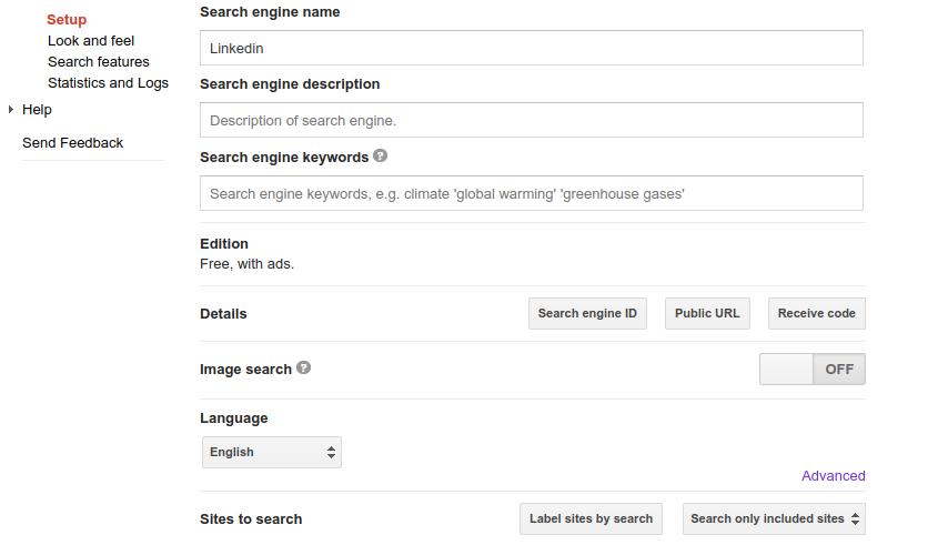 google site search api