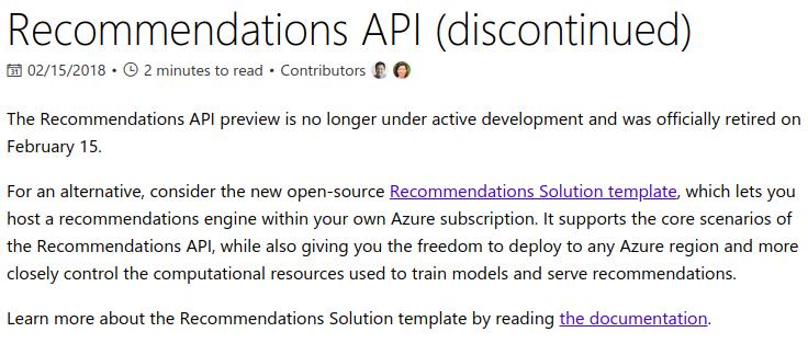 Azure recommendation API