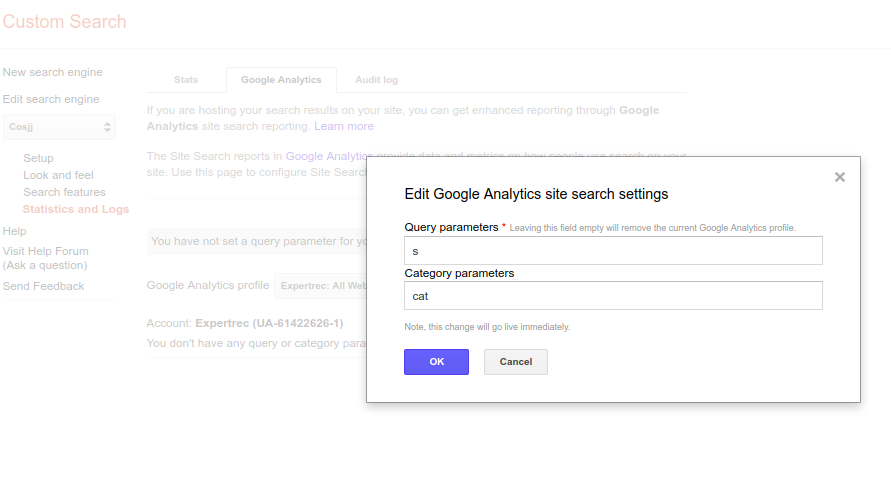 google custom search google analytics