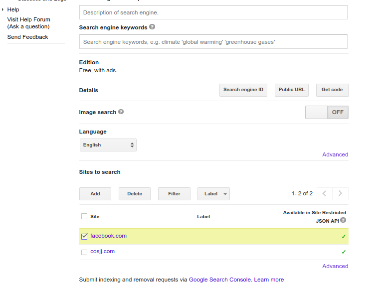 remove a site from Google custom search