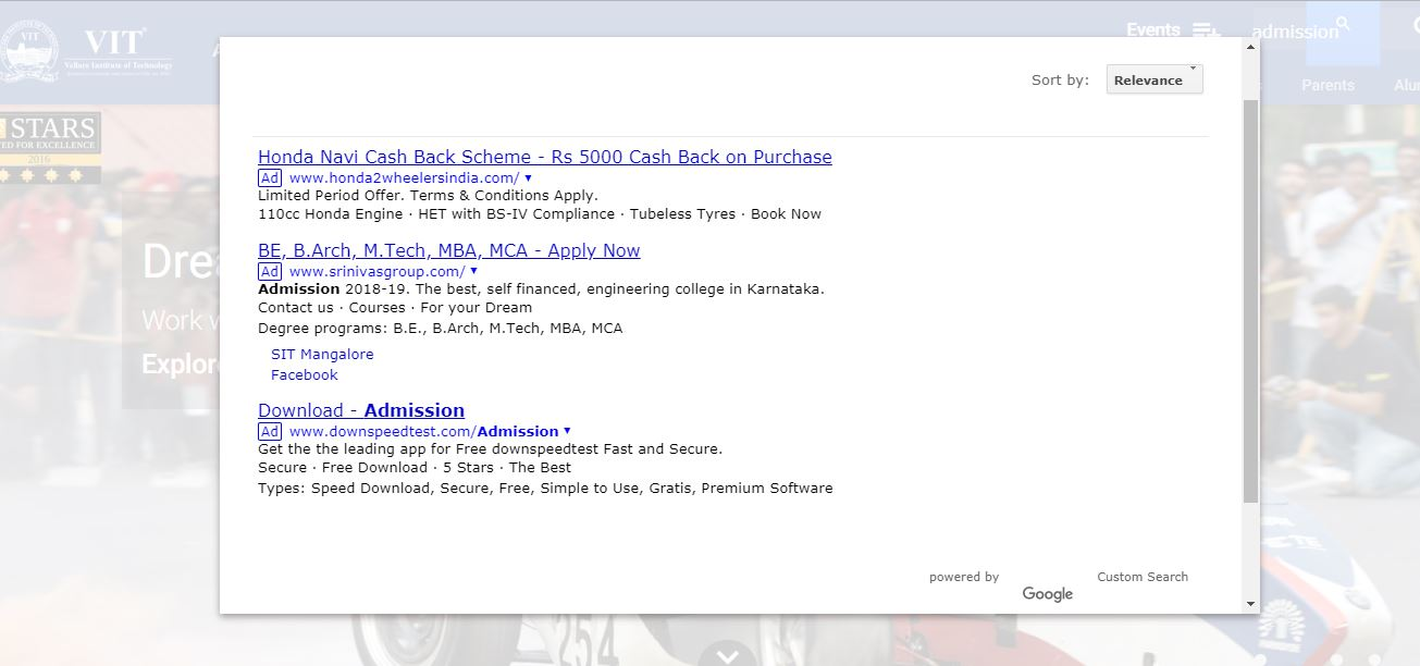 turn off competitor ads in google custom search cse