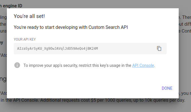 google custom search site restricted json api