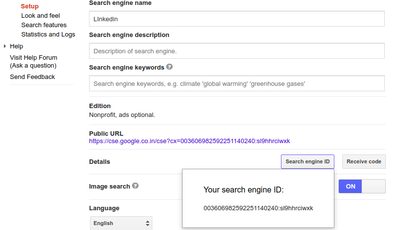 custom search site restricted json api
