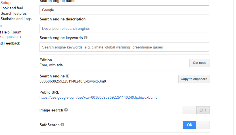 How to enable safe search in google custom search to remove explicit search results