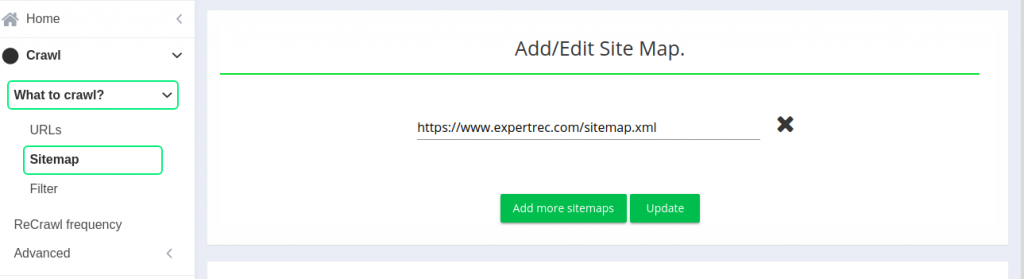 Add multiple sitemaps to index