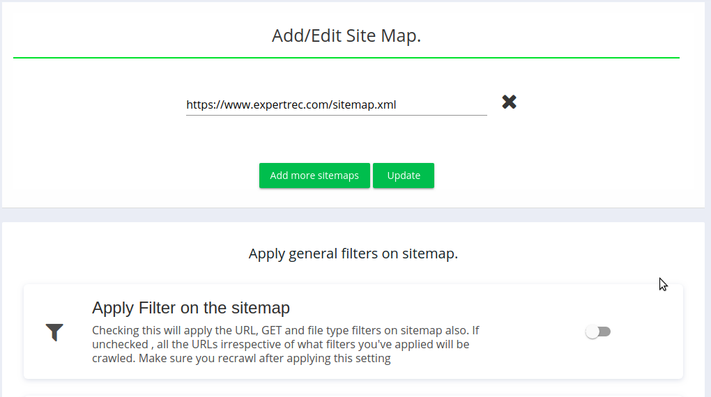 Filters on sitemap