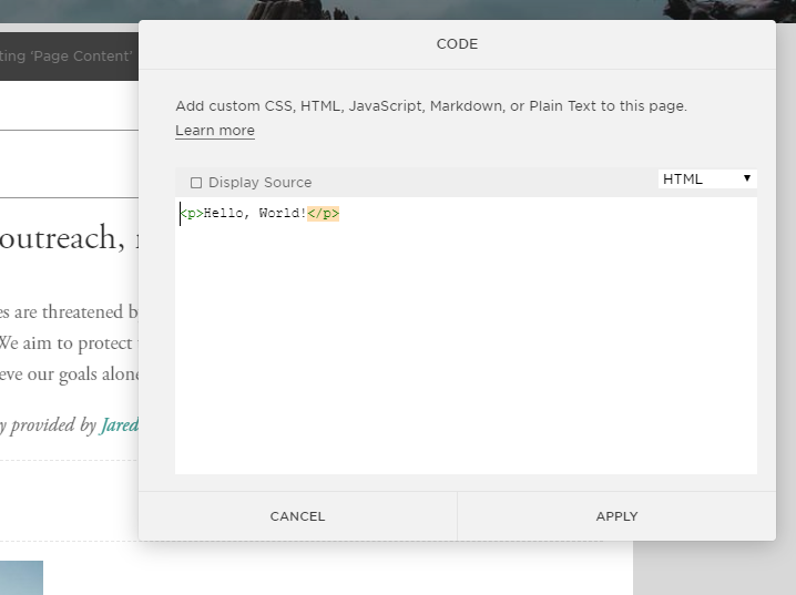 how to add code to squarespace website