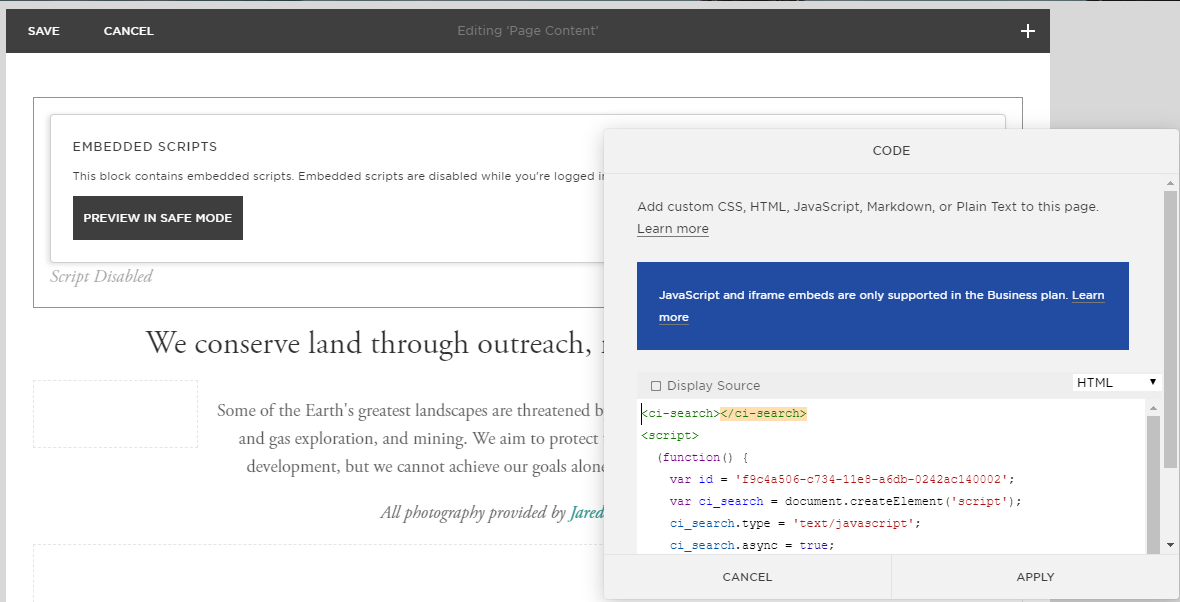 squarespace custom search engine