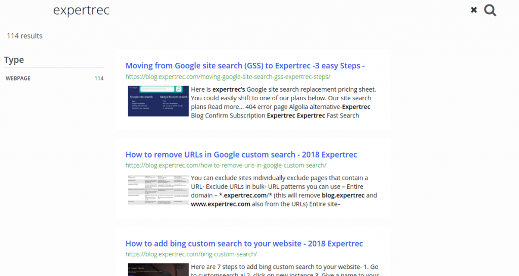 expertrec search highlighting demo