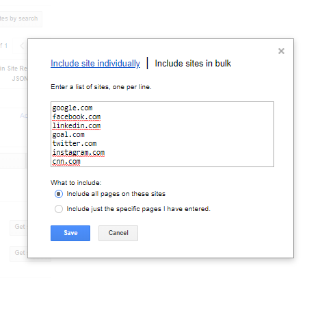 How to add multiple websites in Google custom search ( Include sites in bulk)