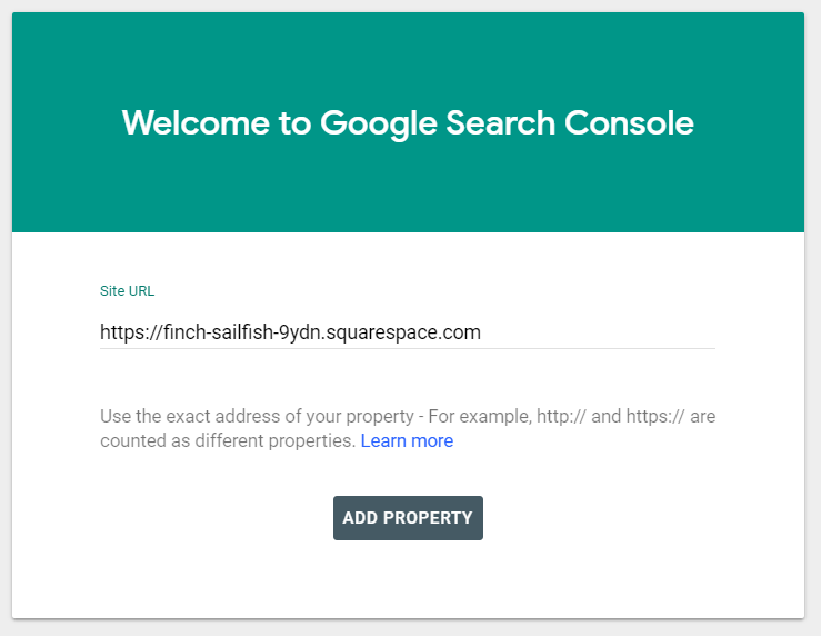 How to add squarespace site to google search console.