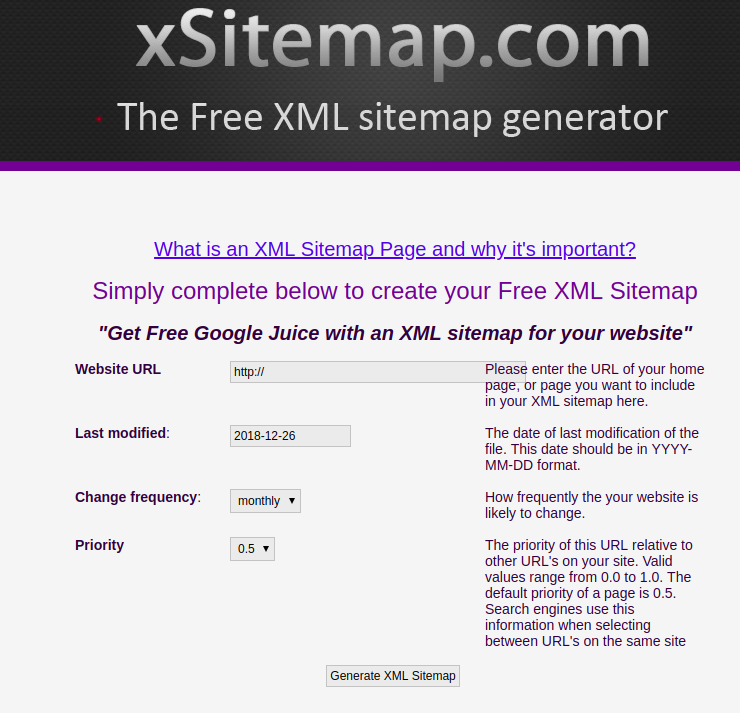 Free tools for creating sitemap