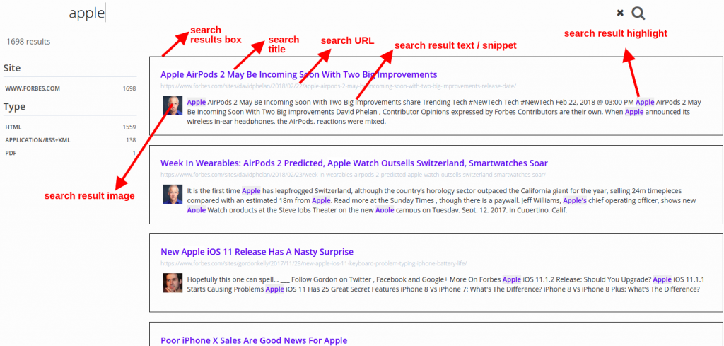 custom search results page expertrec