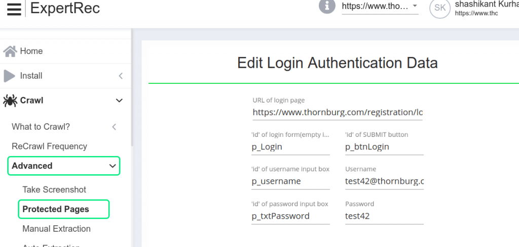 indexing behind login pages