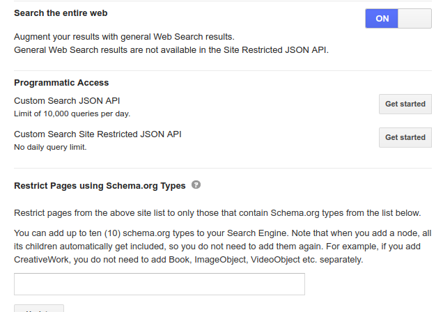 How to use Google custom search for all web