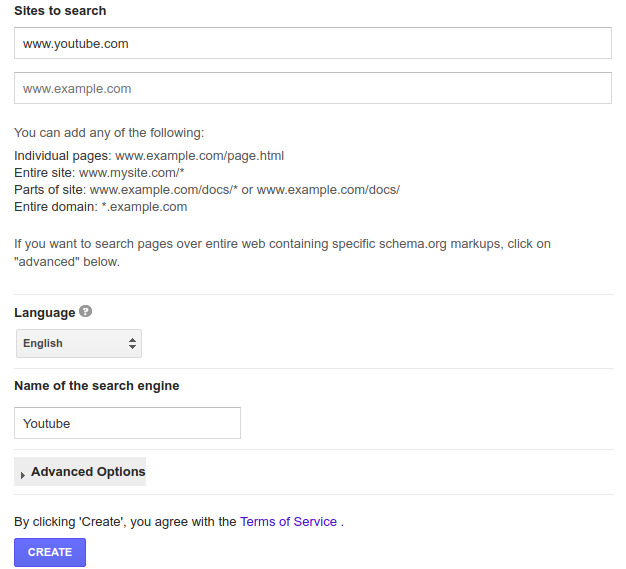 custom search youtube