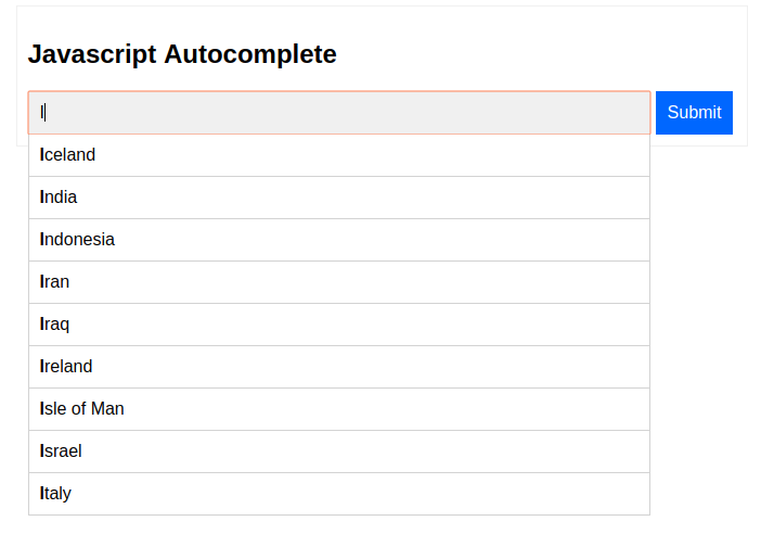Javascript autocomplete