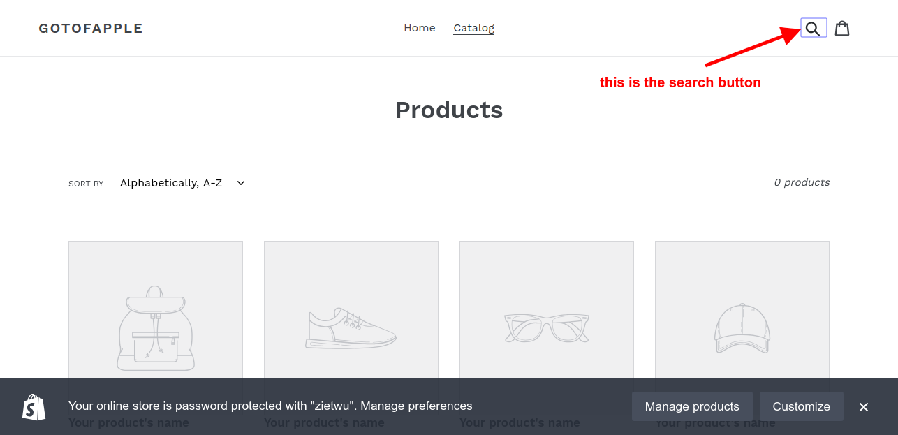 delete shopify search button