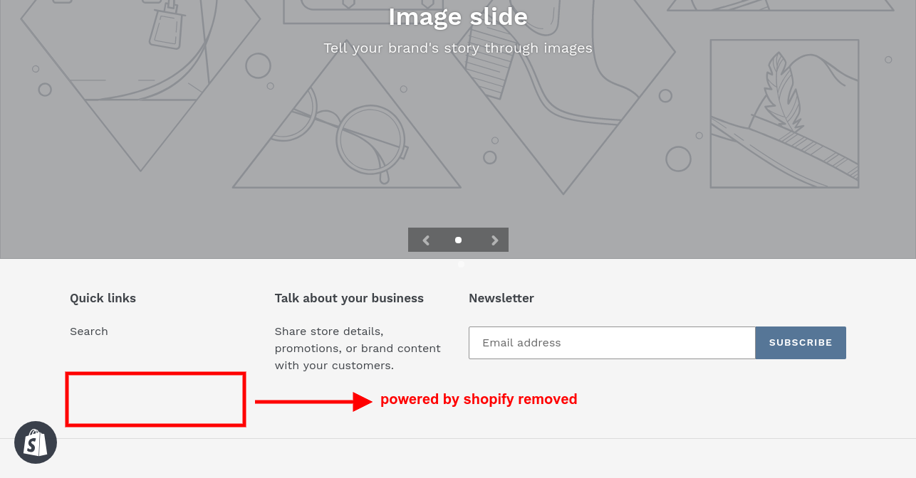 remove powered by shopify logo