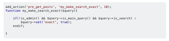 Code snippet Make code exact