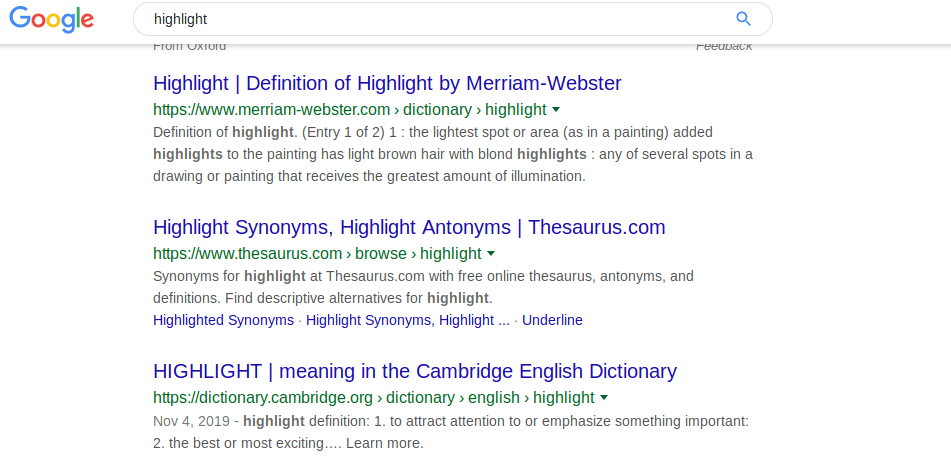 how highlight works in Google