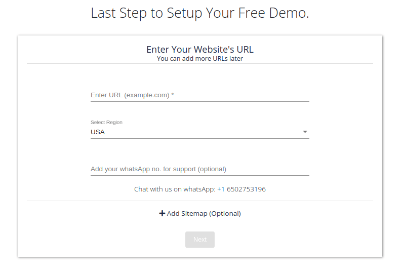 Signup - add search to website