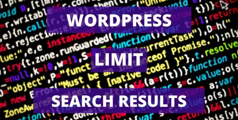 Wordpress limit search results