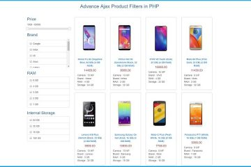 Product search filtering using php and ajax