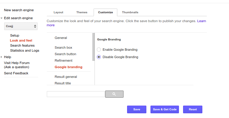 remove powered by google custom search branding
