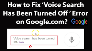 google voice search has been turned off