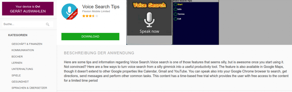 voice search java apps