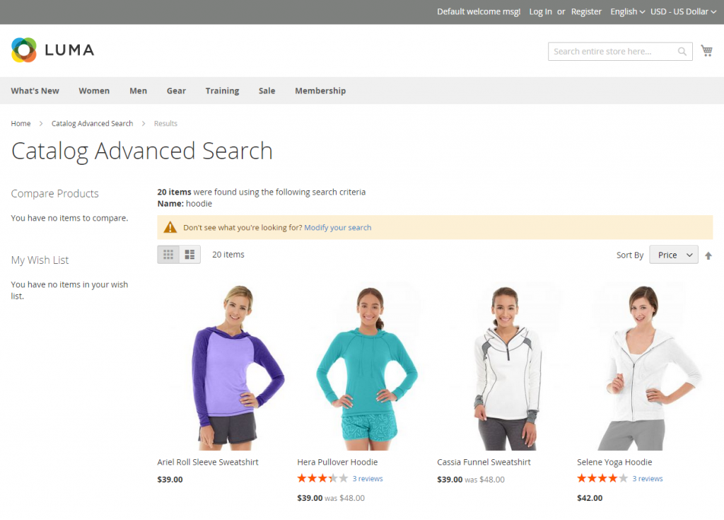 how to use advanced search magento 2