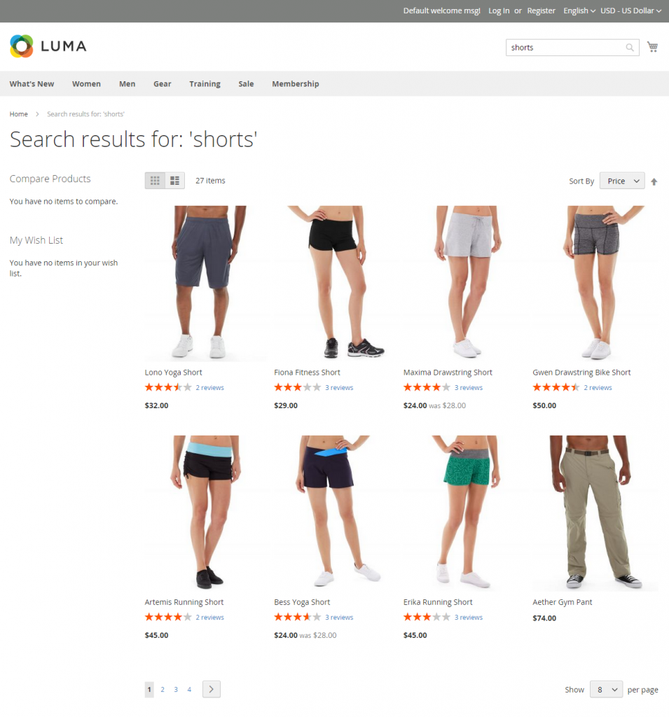 search results page magento 2