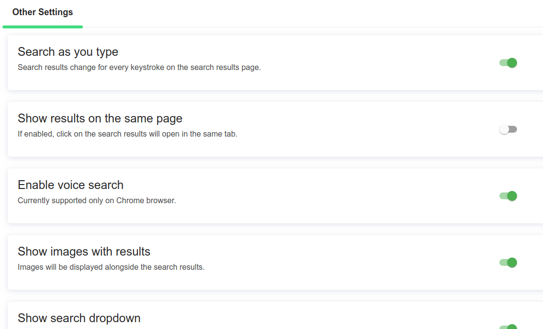 Custom search features