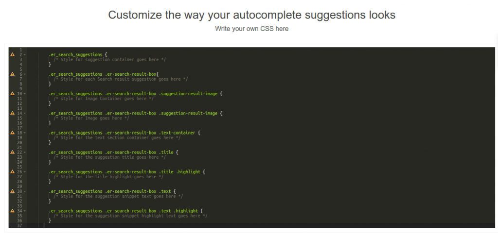 autocomplete editor custom search