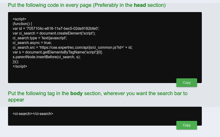 ExpertRec custom search code