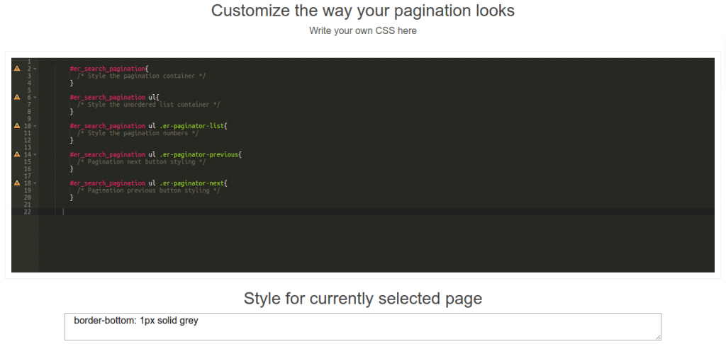 pagination custom search