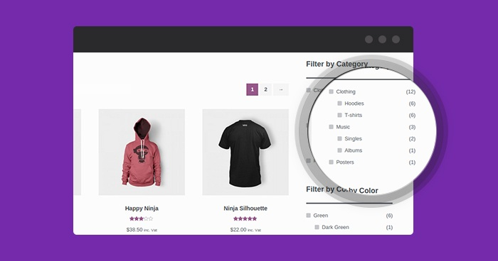 faceted search woocommerce app