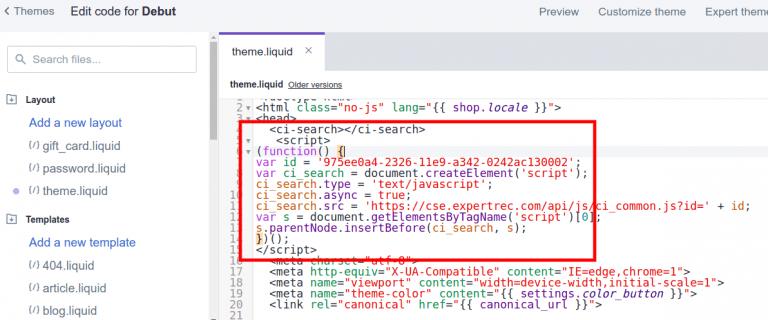 shopify search bar header