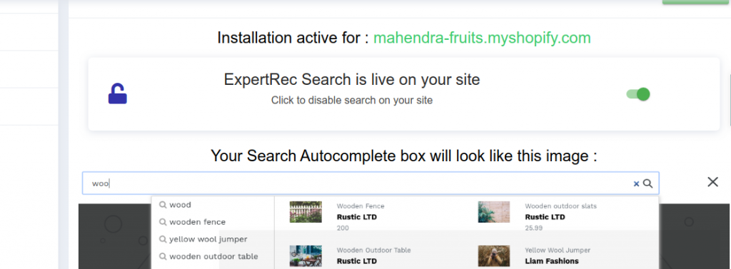 enable shopify search