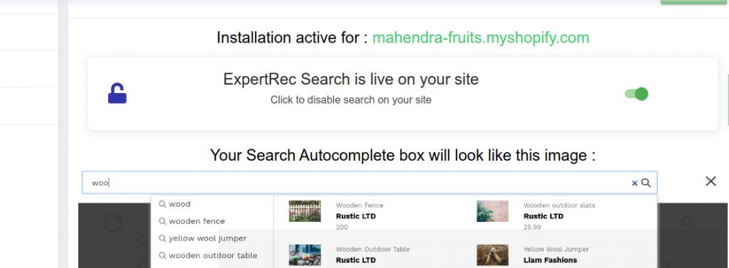 enable shopify search