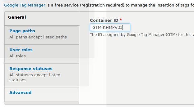 Google tag manager ID drupal
