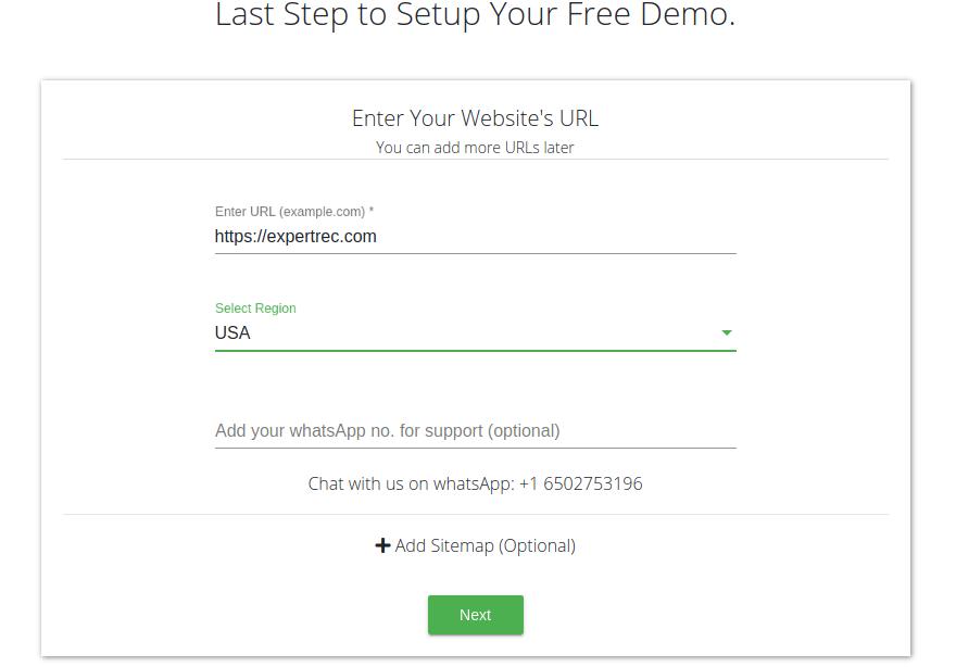 Expertrec signup enter URL