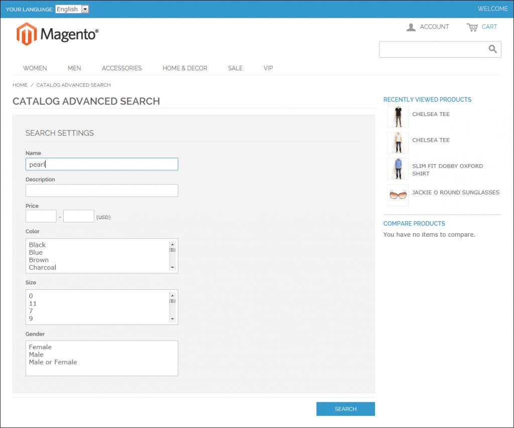 Magento Advanced Search