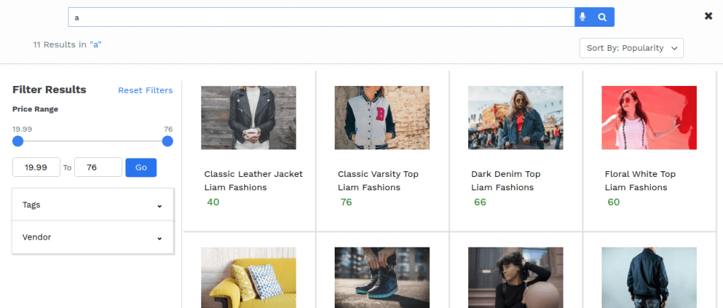 shopify faceted search filters