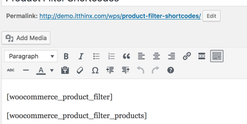woocommerce product filter shortcode