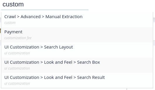 search for features