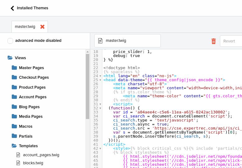 Shopwired search engine add code