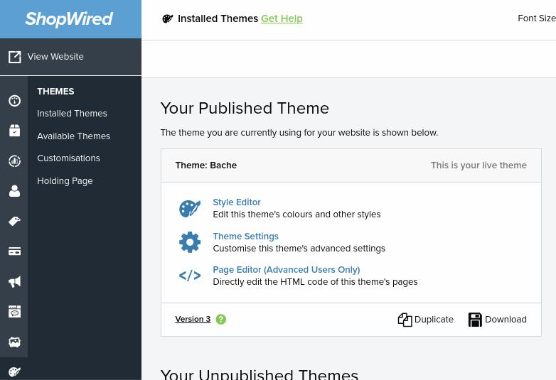 Shopwired theme editor